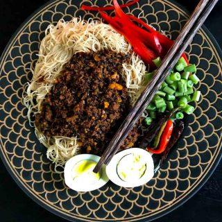Brown Rice Vermicelli with Peanut Lentil Sauce Optimized