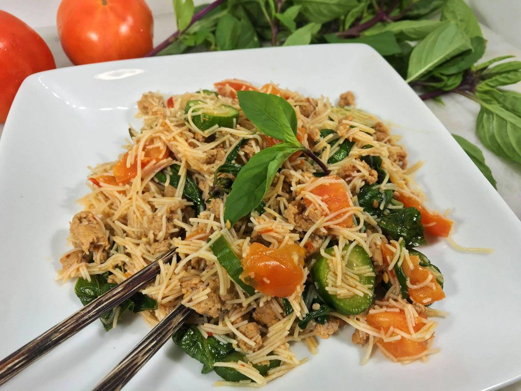 Thai Style Brown Rice Vermicelli With Turkey Sausage