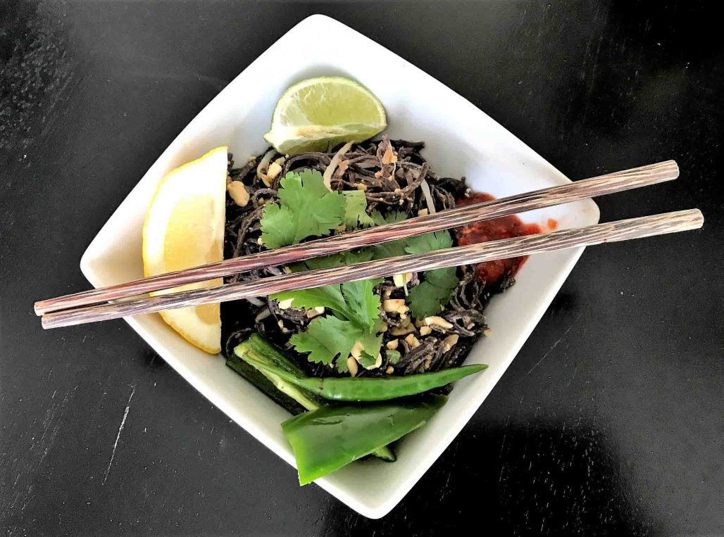 Black Bean Noodle Pad Thai Serving Suggestion