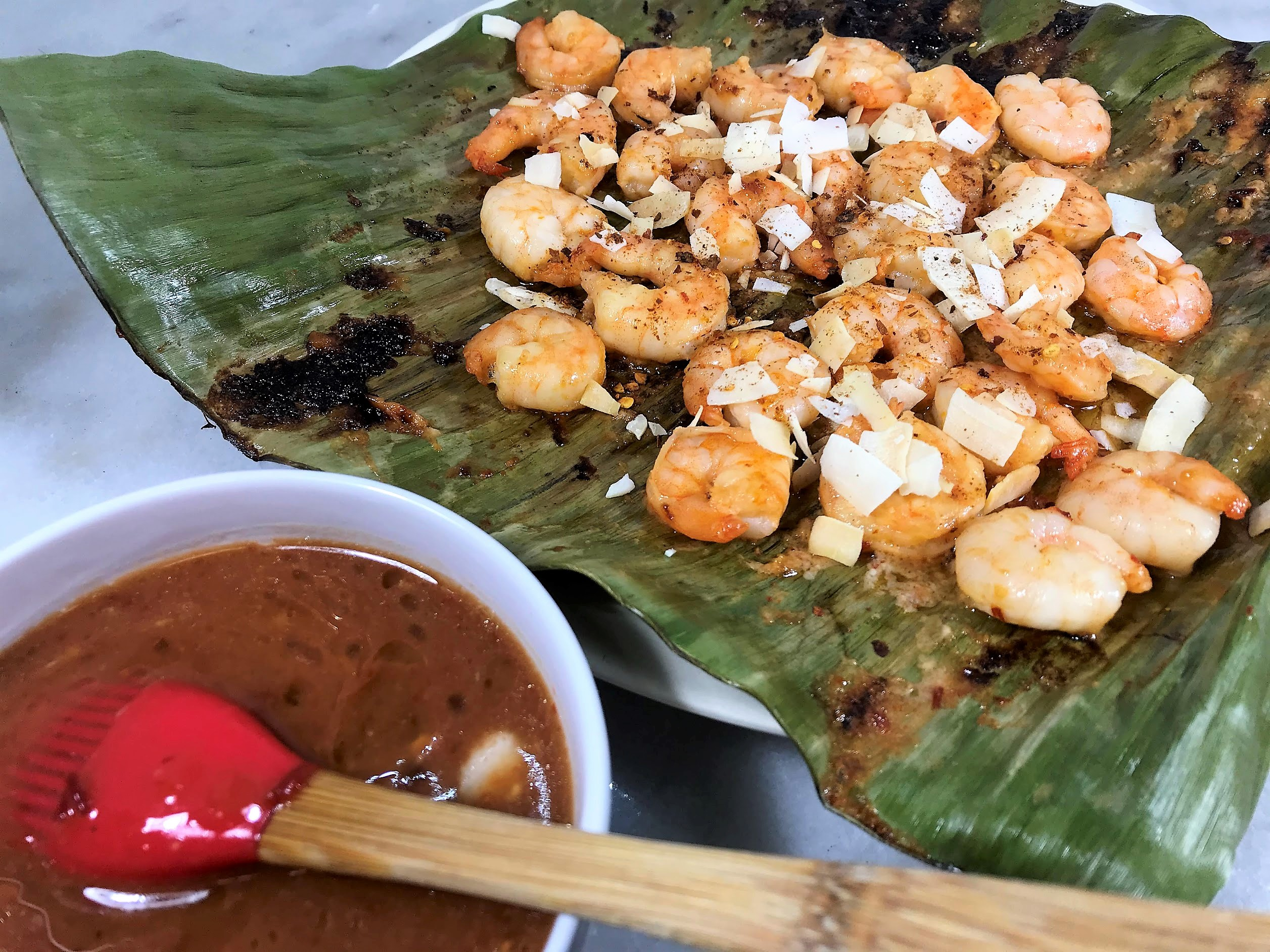 Grilled Thai Coconut Shrimp on a Banana Leaf