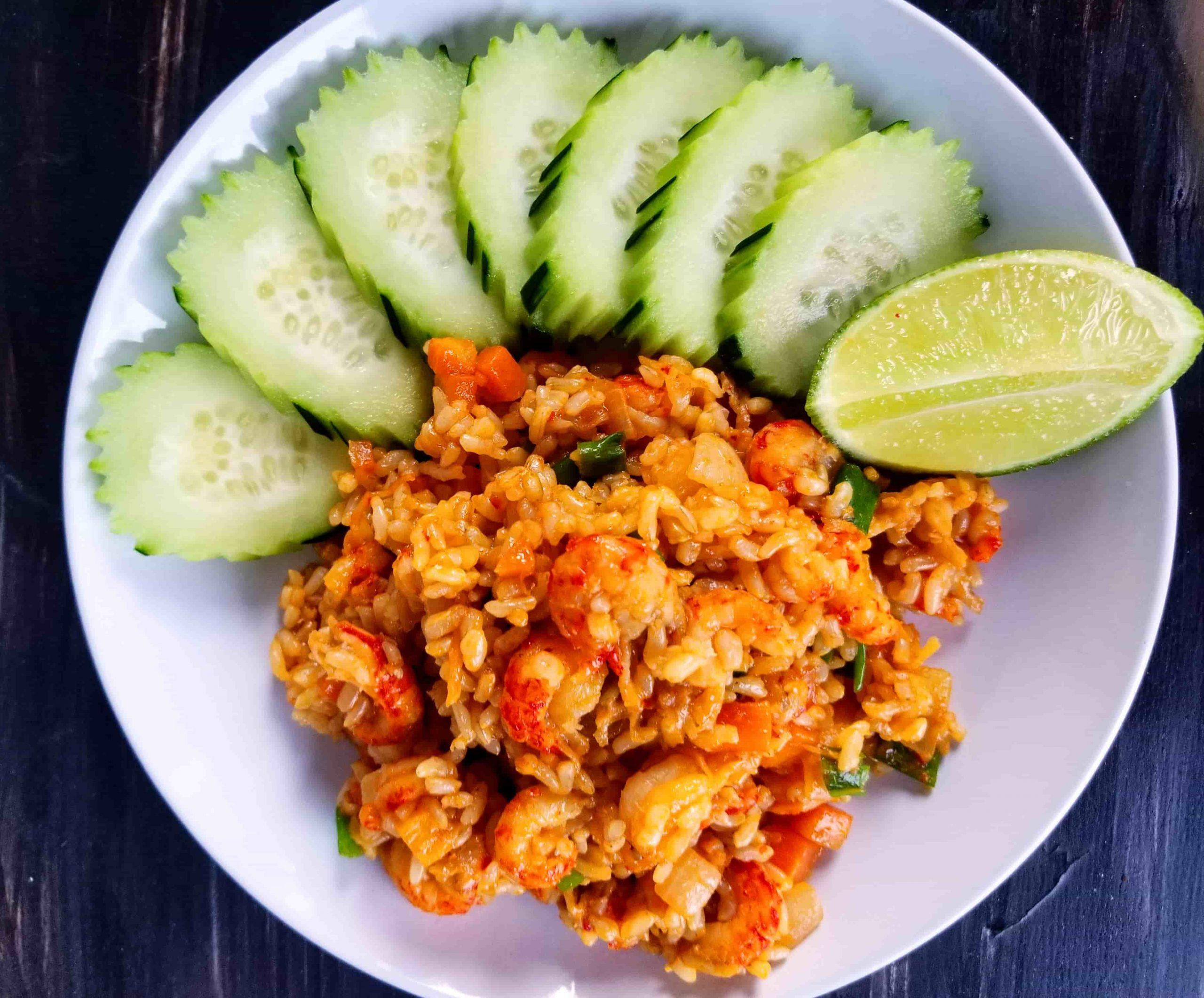 Crawfish Fried Rice, using brown rice - Healthy Thai Recipe