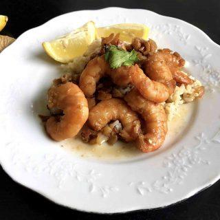 Stir-fried lemon garlic ginger shrimp