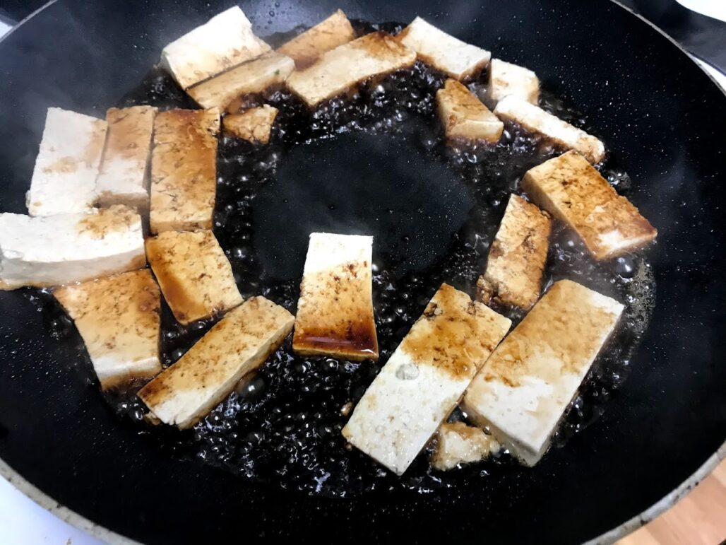 Sautéing Tofu in Lite Soy Sauce