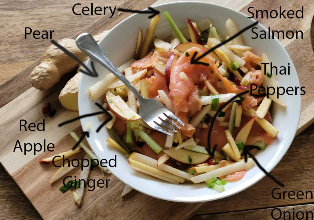 Asian Pear Salad With Smoked Salmon Ingredients Diagram