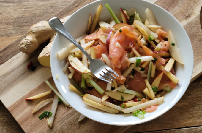 Asian Pear Salad With Smoked Salmon and Natural Light