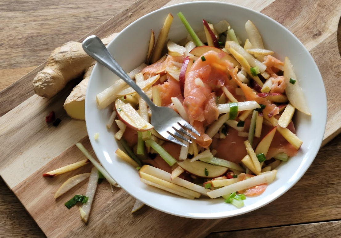Asian Pear Salad with Smoked Salmon
