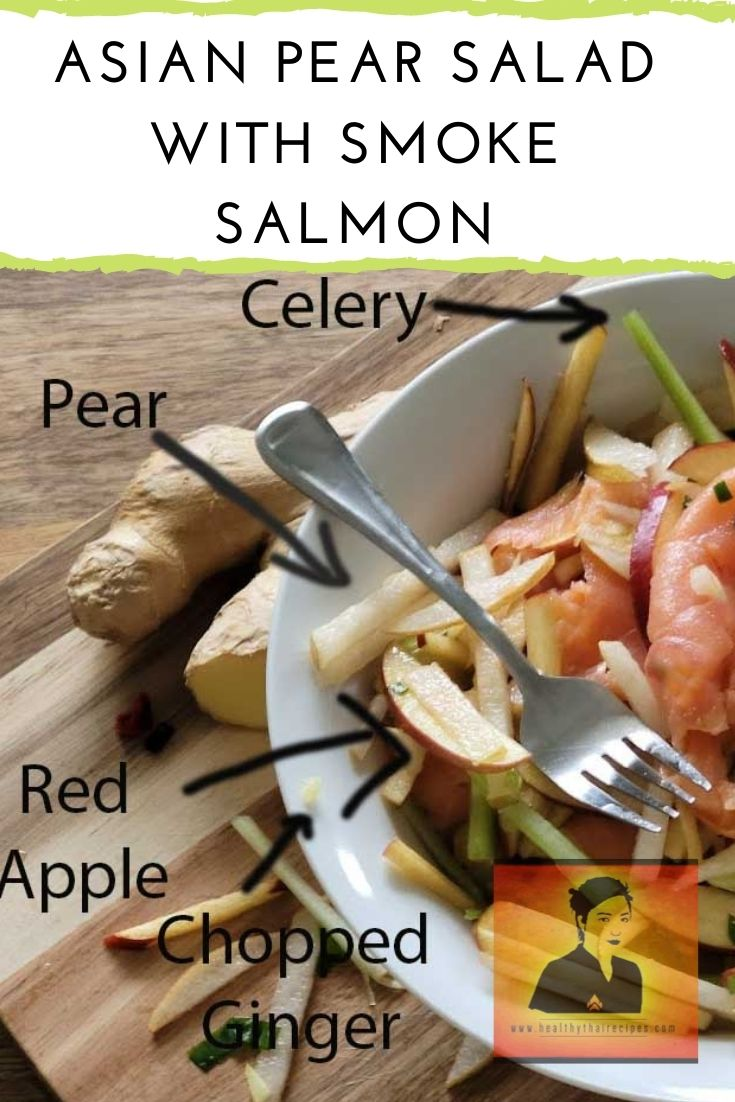 Asian Pear Salad with Smoked Salmon Pinterest Image