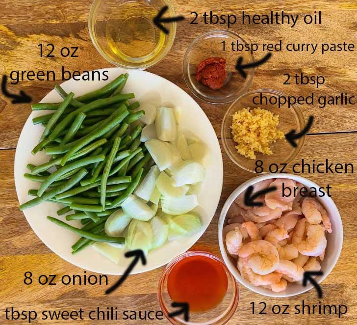 Thai Chicken and Shrimp Ingredients