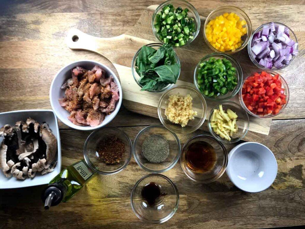 Black Pepper Pork Stir-Fry Ingredients