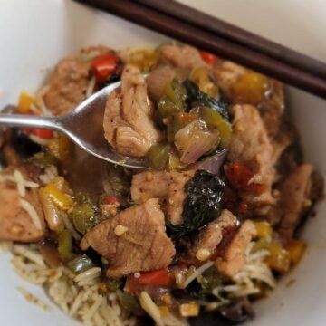 Black Pepper Pork Stir-Fry Over Rice