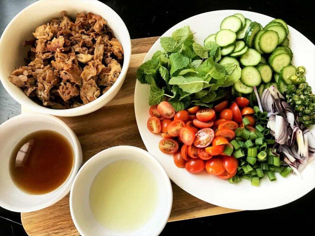 Thai Herb Shaved Pork Salad Ingredients