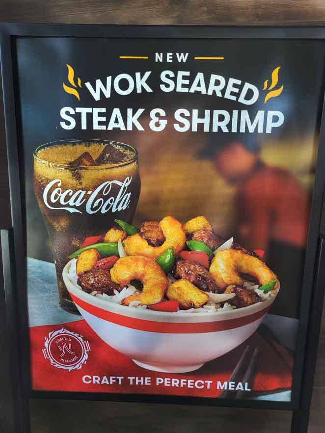 Wok Seared Steak and Shrimp advertisement for panda express