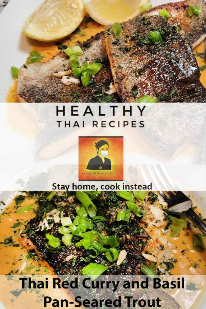 Thai Red Curry and Basil Pan-Seared Trout Pinterest Image